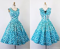 1950s dress / 50s floral dress / Blue White and by RococoVintage, $286.00