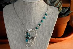 Silver Wire Wrapped Skull Necklace Turquise  Silver by MummyLust, $50.00