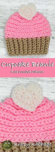 Cupcake Beanie Hat Free Crochet Pattern – Krazy Kabbage #valentine #newborn #baby #beanie #pink
