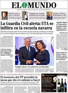 Los Titulares y Portadas de Noticias Destacadas Españolas del 21 de Noviembre de 2013 del Diario El Mundo ¿Que le pareció esta Portada de este Diario Español?