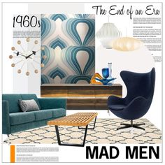 Mad Man Interior by szaboesz on Polyvore featuring interior, interiors, interior design, home, home decor, interior decorating, Fritz Hansen, Vitra, Modernica and Crate and Barrel