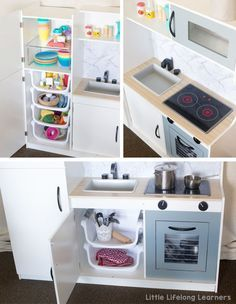 Storage for a kids play kitchen | Kmart kitchen hack | kids play kitchen reno | DIY play kitchen ideas | toy kitchen storage ideas | Toddler, preschooler and kindergarten play ideas | Role-play and dramatic play ideas | play room and toy room ideas |