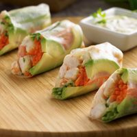 Spring Rolls 1  	lb (450 g) cooked shrimp, peeled and deveined, tails removed (about 3 cups/750 mL), coarsely chopped 1/4  	tsp (1 mL) salt 2  	large carrots, peeled 1  	medium seedless cucumber 2  	 avocados 12  	(8-in./20-cm) rice wrappers 1  	cup (250 mL) water