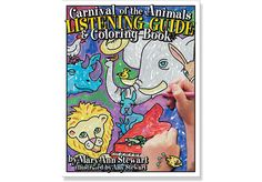 CARNIVAL OF THE ANIMALS Listening Guide & Color Book - By Mary Ann Stewart, illus. by Amy Stewart. Discover the animals and the music of Saint-Saens' delightful suite. Each piece includes an easy-to-follow listening guide, the musical theme (for the child to see and the parent or teacher to play), and a picture of the animals with the instruments to color. The book also includes background on the music and the composer, a guide to the instruments, and a glossary of terms.