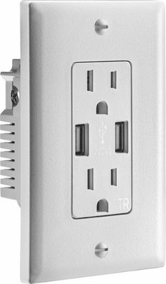 Insignia™ - 3.6A USB Charger Wall Outlet - White - Front_Zoom