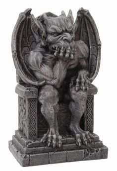 The Gargoyle on Throne Statue would make a great accent in your gothic or medieval home. This statue features a gargoyle on a throne decorated with Celtic designs. This statue is made of cold cast resin and measures inches tall. Kraken, Dragons, Gothic Gargoyles, Dark Knight Armory, Stone Sculpture, Sculpture Art, Gothic Architecture, Green Man, Mythical Creatures