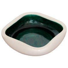 Beautiful Ceramic Bowl by Keramos Sèvres in Off-White and Green, France, Modern Glass, Mid-century Modern, Berlin, Ceramic Bowls, Off White, 1950s, Mid Century, Pottery, Green