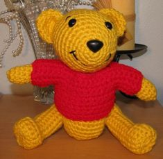 """Here is another favorite I did for my daughters friend - my Crocheted Pooh Bear. He measures 7"""". Pattern is below. Enjoy! Materials: Size ..."""