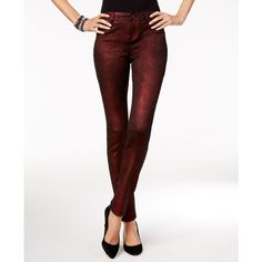 Inc International Concepts Metallic Curvy-Fit Skinny Jeans, ($44) ❤ liked on Polyvore featuring jeans, wine berry, white skinny leg jeans, skinny jeans, inc international concepts, cut skinny jeans and skinny fit jeans