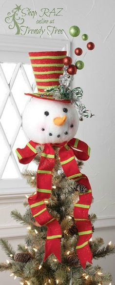 RAZ Snowman Head Christmas Tree Topper Merry and Bright | Tree toppers