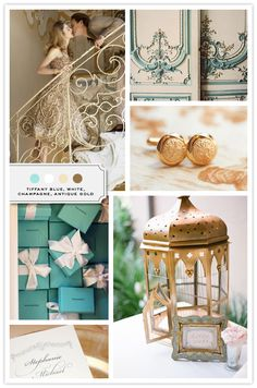 wedding color combo: tiffany blue, white, champagne and antique gold