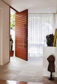 Shop Chairish, the design lover's curated marketplace for the best in vintage and contemporary furniture, decor and art. Wooden Door Design, Main Door Design, Entrance Design, Front Door Design, Wooden Doors, Modern Entrance Door, Modern Front Door, Entrance Doors, Design Entrée