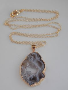 SALE Geode Slice Necklace on a 24 inch Gold Fill by MalieCreations, $45.00