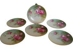 $89 RS Germany Pink Rose Plates, Set of 6 - One Kings Lane - Vintage & Market Finds - Tabletop