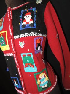 christmas windows by cricketcapers Christmas Windows, Ugly Christmas Sweater, Being Ugly, Arts And Crafts, Red, Handmade, Stuff To Buy, Vintage, Fashion