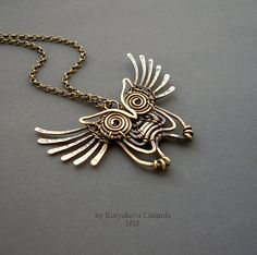 OWL 2 by ~KL-WireDream :: Brass pendant made of brass wire completely by hand without the use of solder and heat patinated and polished Owl Jewelry, Animal Jewelry, Metal Jewelry, Jewelry Crafts, Handmade Jewelry, Jewelry Design, Wire Pendant, Pendant Jewelry, Jewelry Necklaces
