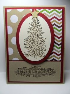 Christmas card idea | polka dot, chevron CHRISTMAS TREE Hand Stamped card by PrettyOnPaperShop on Etsy, $4.00