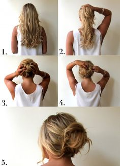 messy bun in 2 minutes, just use the pics though because the instructions are written in French( I think).