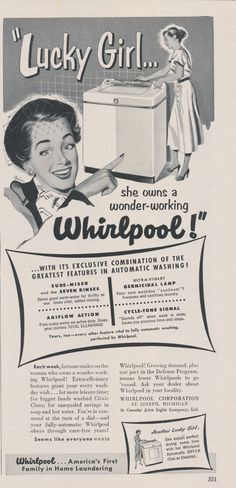 """1950s Whirlpool Washing Machine Ad """"Lucky Girl"""" Retro Housewife Vintage Advertising Appliance Print, Kitsch Laundry Room Wall Art Decor"""