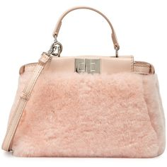 Fendi Peekaboo Micro Shearling Fur Satchel Bag found on Polyvore featuring bags, handbags, light rose pink, fendi handbags, red purse, fendi, red satchel purse and fendi purses