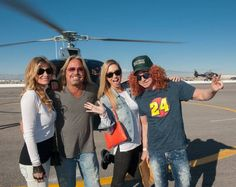 Vince Neil, Carrot Top and guests attend the Kobalt 400 via Maverick Helicopter on Sunday, March 8, 2015, at Las Vegas Motor Speedway