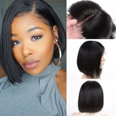 Bob Lace Front Wigs Human Hair Cheap Bob Wigs For Black Women Middle Part Lace Front Wigs Bob Brazilian Vrigin Hair Short Weave Hairstyles, Wig Hairstyles, Straight Hairstyles, Short Human Hair Wigs, Cheap Human Hair, Human Wigs, Bob Weave Styles, Middle Part Curls, Affordable Wigs