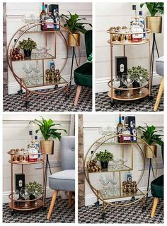 Details about Rose Gold Round Drinks Trolley with 2 Tiers Art Deco Vintage Home Bar Cart - Front Room - Bar Trolley, Serving Trolley, Vintage Drinks Trolley, Bar Carts, Home Bar Decor, Bar Cart Decor, Bar Redondo, Drink Cart, Bar Cart Styling