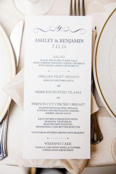 Ashley and Ben's menu Photo by: Dennis Pike Photography @dennispikephoto   ON PAPER Columbus, OH onpaper.com #weddingmenu #weddinginvitations #vintagewedding #rusticelegantwedding