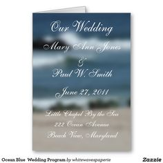 Ocean Blue  Wedding Program Greeting Card