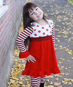 Another great find on #zulily! Red & White Hadlee Ruffle Dress & Leggings - Toddler & Girls #zulilyfinds