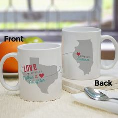 Give your long distance boyfriend or girlfriend something special this holiday! Personalized Valentine's Day Gifts like our state long-distance relationship mugs are created for you! Buy now. Long Distance Mugs, Long Distance Relationship Gifts, Personalized Photo Gifts, Personalized Christmas Gifts, Unique Mothers Day Gifts, Mother Day Gifts, Great Gifts For Girlfriend, Unique Coffee Mugs, Valentine Day Gifts