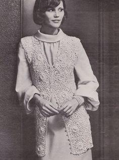 The Vintage Pattern Files: Free Crochet Pattern - Irish Rose Jacket Thread Crochet, Filet Crochet, Irish Crochet, Crochet Stitches, Vintage Knitting, Vintage Crochet, Crochet Motif Patterns, Sewing Patterns, Rose Jacket