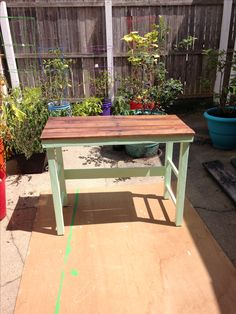 Pallet top + old legs from a kitchen stool = a free desk.  Only had to buy the paint as I had the varnish left from another project.