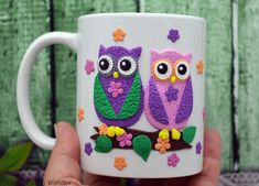 Excited to share the latest addition to my #etsy shop: Polymer Clay Mug Cute Owls Polymer Clay Design Coffee Mug Mothers Day Gift Personalized Gift Cute Mug Gift for Her Tea Mug Owl Mug Funny Mug