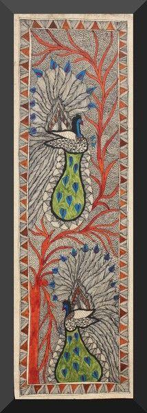Madhubani Painting Peacock On A Tree