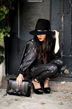 lusttforlifeblog:    Wearing: A Rag & Bone fedora, vintage blouse, Nasty Gal jacket, All Saints jeans (Similar here), Zara wedges and bag, YSL ring and Rouge Pur lipstick.