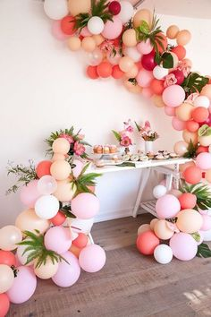 Balloons in sweet colours + botanical inspiration