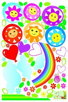 UfingoDecor Cartoon Girasoli Smiley Arcobaleno Adesivi Murali, Camera Dei Bambini Vivai Adesivi da Parete Removibili/Stickers Murali/Decorazione Murale: Amazon.it: Casa e cucina