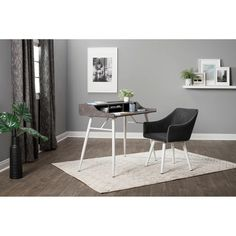 Shop Calico Designs Sydney Swivel, Home Office Accent Chair with Arms, No Casters, in White Metal Legs / Dark Gray Faux Leather - Free Shipping Today - Overstock - 29630152