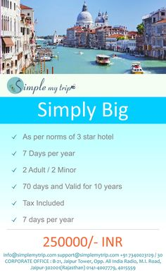 """"""" SIMPLY BIG """" Travel with our package 3*** star hotel stay  10 years membership plan Travel 7 days per year For 2 adults / 2 minor For more info contact us  call :- 0141-4007779, 0141-4015559, 7340023129"""