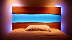 How To Build A Live Edge Epoxy River Headboard (Not Table!) with LED Lights Live Edge Epoxy River Kopfteil mit LED-Leuchten // How To Build – Holzbearbeitung Woodworking Patterns, Woodworking Furniture, Fine Woodworking, Woodworking Projects, Woodworking Classes, Woodworking Equipment, Woodworking Machinery, Woodworking Workshop, Resin Furniture