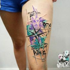 Compass Tattoo on Thigh by Dynoz maple leaf not fdl and true north.