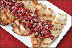 Grilled Tilapia with Cherry Salsa Serves 4 Prep time: 20 minutes Total time: 25 minutes  Ingredients • 1 tablespoon olive oil • 1/2 pound (about 2 cups) Bing cherries, pitted and coarsely chopped • 1/2 small red onion, finely chopped • 1/4 cup fresh parsley, chopped • 1 large jalepeno chile (ribs and seeds removed), minced • 1 tablespoon fresh lime juice • salt and pepper • 1/4 teaspoon ground coriander • 4 Tilapia fillets (about 6 ounces each)