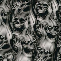 Hear no evil. Speak no evil. See no Evil. Evil Skull Tattoo, Evil Tattoos, Demon Tattoo, Skull Tattoo Design, Tattoo Design Drawings, Skull Tattoos, Body Art Tattoos, Sleeve Tattoos, Tattoo Designs