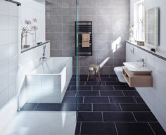 badezimmer grauer boden wei e wand wohnzimmer wandgestaltung streichen pinterest. Black Bedroom Furniture Sets. Home Design Ideas