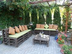 Image of: outside pallet furniture pallet patio diy outdoor pallet bench pallet furniture plans 15 Diy Projects Patio, Wooden Pallet Projects, Diy Patio, Backyard Patio, Pallet Ideas, Yard Landscaping, Patio Bench, Patio Ideas, Garden Ideas