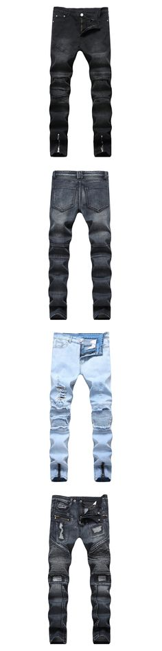 Ankle Zipper Design Hi-Street Mens Black Ripped Jeans Men Fashion Male Distressed Skinny Jeans Destroyed Denim Jeans Trousers