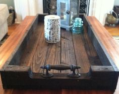 Reclaimed Dark Stained Pallet Wood Serving Tray With Metal