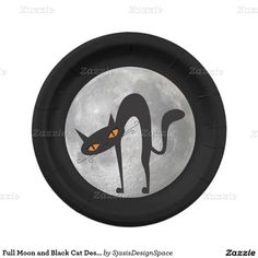 Full Moon and Black Cat Design Paper Plates