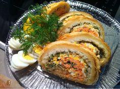 Patavahti: Lohipiirakka   (lohikulibiac) Salmon Burgers, Ethnic Recipes, Salmon Patties